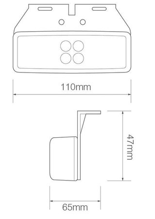 LED markeerlicht amber  | 12-24v |  2 pin's connector